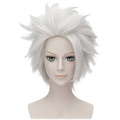 Flovex Silver White Short Layered Cosplay Wigs Unisex Costume Party Daily Hair