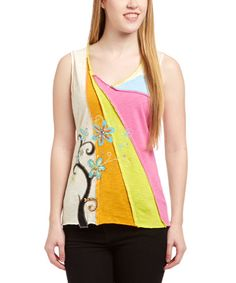 Love this Creme & Orange Embroidered V-Neck Tank on #zulily! #zulilyfinds