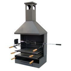Barbacoa forja con chimenea, para instalar en una superficie de obra., rustidor pollos electrico, asador pollos electrico