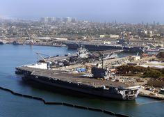 The aircraft carriers USS Ronald Reagan, USS Nimitz and USS Carl Vinson are pierside at Naval Air Station North Island. Coronado Island, San Diego, California