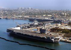 The aircraft carriers USS Ronald Reagan, USS Nimitz and USS Carl Vinson are pierside at Naval Air Station North Island. Coronado Island, San Diego, California