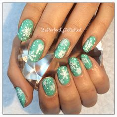 Gelish Mint of Spring with snowflakes