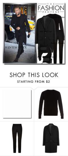 """David Beckham Winter Street Style!"" by bella-danielle-mia ❤ liked on Polyvore featuring Lanvin, Sandro, AMI, Barneys New York, men's fashion, menswear, StreetStyle, davidbeckham and winterlook"