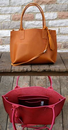 An unassuming beauty in classic shades of leather, this leather tote might just become your go-to companion for park strolls, morning train rides, thrift store treasure hunts—really, any and all adventures. Smooth or oil-tanned leather is carved into a structured shape, sewn with reversed seams. The rolled handles are long enough to throw over a shoulder, or the tote can be carried by the long, detachable strap. An extra bit of fun, a matching leather tassel hangs on one side.