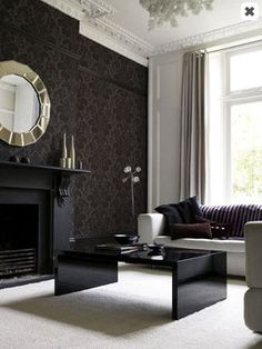 Dark, matte walls are a must for any home theater. Black damask wallpaper keeps it interesting. Black White Rooms, Black And White Interior, Black Walls, Bedroom Black, Living Room Carpet, My Living Room, Home And Living, Damask Wallpaper, Black Wallpaper