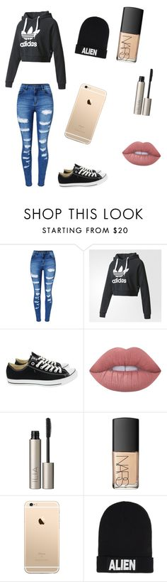 """School Day"" by srbuckner ❤ liked on Polyvore featuring WithChic, adidas, Converse, Lime Crime, Ilia, NARS Cosmetics and Nicopanda"