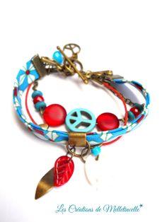 """Bracelet multirangs en bronze """" Playa """" biais en coton esprit des tissus wax africains motifs géométriques turquoise et rouge : Bracelet par les-creations-de-melletincelle"""