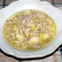 This dumpling soup is made entirely from scratch with fresh corn and stock from the whole chicken, seasoned with nutmeg and flecked with hard-cooked egg.