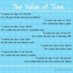 The value of time. Motivational Poster Quotes
