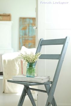 Home Decor: painted wood folding chair. Easy to do and very cute!