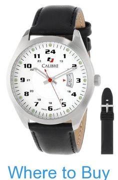 Calibre Men's SC-4T1-04-001SL Trooper Stainless Steel Interchangeable Black Rubber Leather Straps Watch Set #Calibre #Mens #SC-4T1-04-001SL #Trooper #Stainless #Steel #Interchangeable #Black #Rubber #Leather #Straps #Watch #Set