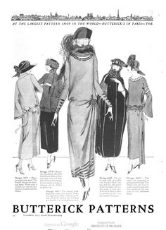 """""""At the largest pattern shop in the world - Butterick's in Paris - the French woman is buying the same patterns offered to you in America today."""" Butterick's Patterns. In Good housekeeping. v.75 1922 Jul-Dec."""