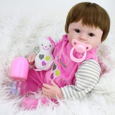 68.84$  Watch here - http://alixsb.shopchina.info/go.php?t=32808935007 - 45cm Full Silicone Reborn Baby Doll Toys Play House Pink Dress Princess Reborn Babies Nude Kids Child Brithday Girls Grinquedos 68.84$ #aliexpresschina