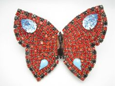 yves saint laurent brooch Huge rhinestone butterfly red and blue