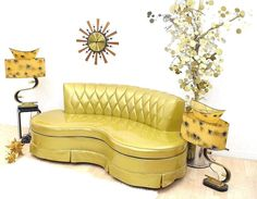 Hollywood Glam Gold Glitter Kidney Sofa SOLD