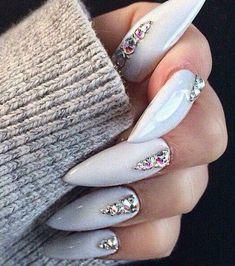 Grey jewelled stiletto nails