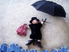 creative use of a sleeping baby!