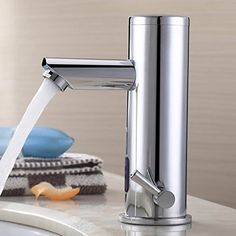Sprinkle@Single Handle Waterfall Bathroom Vanity Sink Faucet Chrome Automatic Sensor faucet (Hot and Cold) >>> You can get more details by clicking on the image.