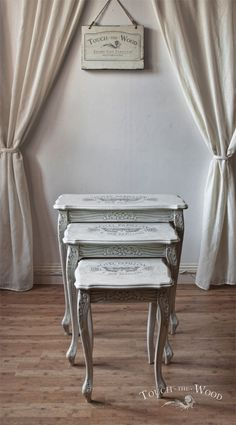 French style shabby chic nest of tables painted in Old White and Paris Grey Chalk Paint® decorative paint by Annie Sloan | By Touch The Wood
