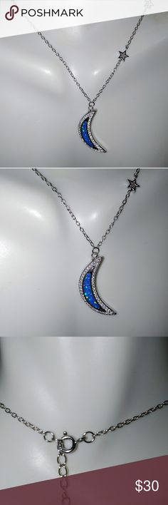 Sterling Silver Opal celestial necklace Reach for the stars with this gorgeous necklace. Genuine Lab grown opal shimmers with iridescent beauty in a cz accented crescent moon with three asymmetrical tiny stars climbing up the chain.  Stamped .925 this.necklace measures 16-18 inches. Jewelry Necklaces