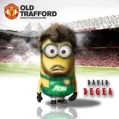 Manchester United minion of David De Gea Minion Dress Up, Minions Images, Minion Pictures, Minions Quotes, Funny Cartoon Quotes, Funny Cartoons, Barcelona Football, Funny Caricatures, Manchester United Football