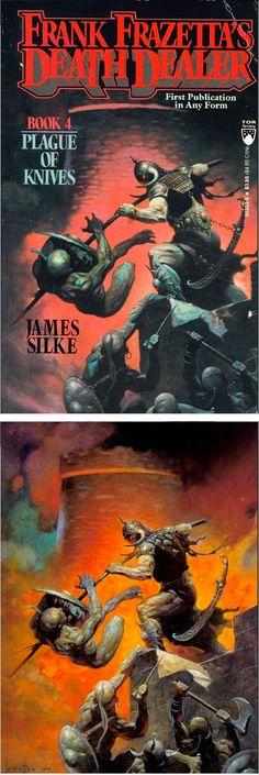 FRANK FRAZETTA - Plague of Knives (Death Dealer 4) by James Silke - 1990 Tor Books - print/cover by capnscomics.blogspot.com