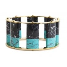 Tall Stackable Bangle, Blue Steel