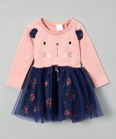 Loving this Peach & Navy Cat Dress - Infant, Toddler & Girls on #zulily! #zulilyfinds