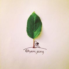 The adorable creations of Canadian illustrator Hyemi Jeong, based in Toronto, who is having fun with the small everyday objects with cute and creative illustr Cute Drawings, Drawing Sketches, Drawing Heart, Buch Design, Object Drawing, Up Book, Creative Artwork, Creative Illustration, Leaf Art