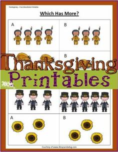 FREE PRINTABLE: Thanksgiving Greater Than Less Than Worksheet by janelle