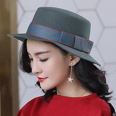 b6b35184 Wool boater hat with bow for women vintage winter flat brim felt hats