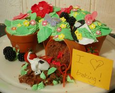 I made this for my grandad who is a keen gardener, chocolate cake in flower pot shape silicon moulds with green frosting complete with sugar paste flowers and little doogie bum digging up the soil.
