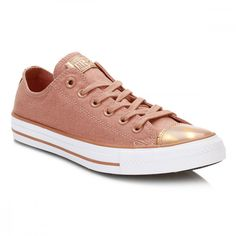 CT All Star Womens Pink Blush Ox Hi Brush Off Toecap Trainers featuring polyvore women's fashion shoes sneakers leather trainers pink leather shoes leather low top sneakers pink sneakers breathable sneakers