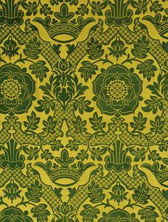 St Margaret Brocade  This 15th century design is part of the Chancery collection and features gold strapwork overgrown with foliage arching over Tudor roses and medieval crowns. The geometric floral design is enticingly only just visible in matt black on a shining ground in this mid-scale cotton damask.