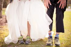 running shoes on bride and groom (who are marathon runners) fun wedding details photo by m three studio photography