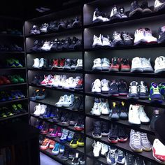 Shoe closet finally done... Showcase wall. #ThemLightsDoe (via andre - Instagram)