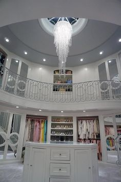 2 Story Closet with Oval Mirror Top Island, Contemporary, Closet circle moulding mirrored closet doors