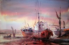 watercolor boats | dusan-djukaric-watercolor-fishing-boats-38x56-cm.jpg