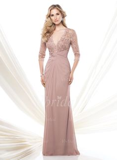 Mother of the Bride Dresses - $162.01 - A-Line/Princess V-neck Sweep Train Chiffon Mother of the Bride Dress With Ruffle Lace Beading (0085057687)