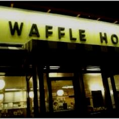 """Waffle House in Biloxi- I didn't realize they are open all night. When I asked the woman says """"oh no honey, we never close. During hurricane Katrina we stayed open till the National Guard made us leave. Avondale Estates, Best Fast Food, Sweet Gum, Yellow Sign, Waffle House, Beacon Of Light, Georgia On My Mind, States In America, Sweet Home Alabama"""