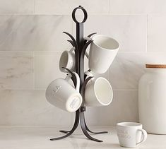 "Vintage Blacksmith Mug Tree 13"" wide by 20"" high. $39.50 #potterybarn. Use for coffee bar station on top of breakfast buffet."