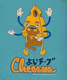Cheesus Good Cheese (Fake Japanese Ad Characters Set) by Rey Misterio (Juan Molinet), via Vintage Advertising Posters, Vintage Advertisements, Vintage Ads, Cheese Cartoon, Typography Served, Japanese Characters, Japanese Graphic Design, Japanese Cartoon, Vintage Cartoon