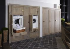 Elevated washer /dryer so you don't need to bend over - built ins for laundry room