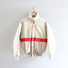 Retro 80s Down Fill Puffer Jacket Classy Beige Red by Amilialia