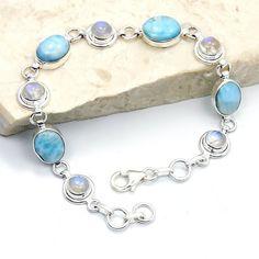 Heavenly Sterling Silver Larimar, Moonstone Bracelet  Price : $119.95 http://www.silverplazajewelry.com/Heavenly-Sterling-Silver-Moonstone-Bracelet/dp/B00G8LQ6BW