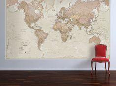 Huge Antique World Map - Vintage, elegant, home decor, home, bedroom, living room, wall art, map poster