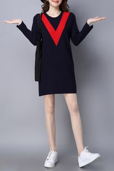 Long Sleeve Color Block Knitted Dress