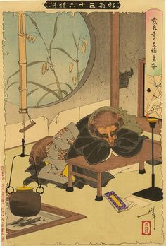 Beautiful Japanese illustration of a fable about tanuki, or raccoon dog.