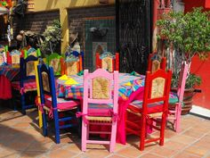 . Outdoor Chairs, Outdoor Furniture Sets, Outdoor Decor, Colorful Decor, Mexico, Cozy, Culture, Fun, Ideas