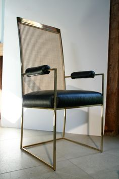 Milo Baughman Brass & Cane Back Leather Dining Chair